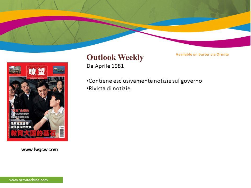 afaqs Reporter www.ormitachina.com Available on barter via Ormita Outlook Weekly Da Aprile 1981 Contiene esclusivamente notizie sul governo Rivista di notizie www.lwgcw.com