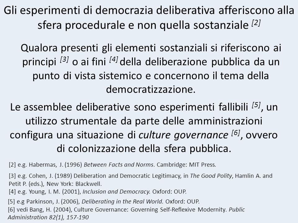Gli esperimenti di democrazia deliberativa afferiscono alla sfera procedurale e non quella sostanziale [2] [2] e.g.