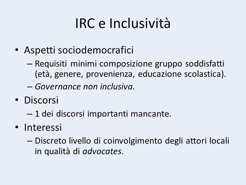 IRC e Inclusività Aspetti sociodemocrafici – Requisiti minimi composizione gruppo soddisfatti (età, genere, provenienza, educazione scolastica).