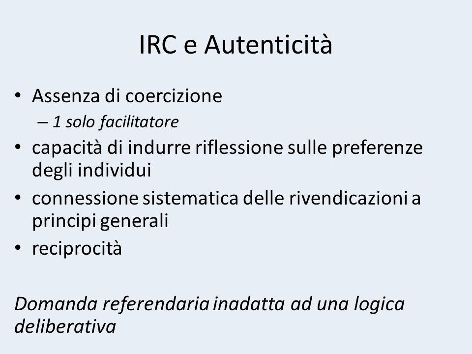 IRC e Autenticità Assenza di coercizione – 1 solo facilitatore capacità di indurre riflessione sulle preferenze degli individui connessione sistematica delle rivendicazioni a principi generali reciprocità Domanda referendaria inadatta ad una logica deliberativa