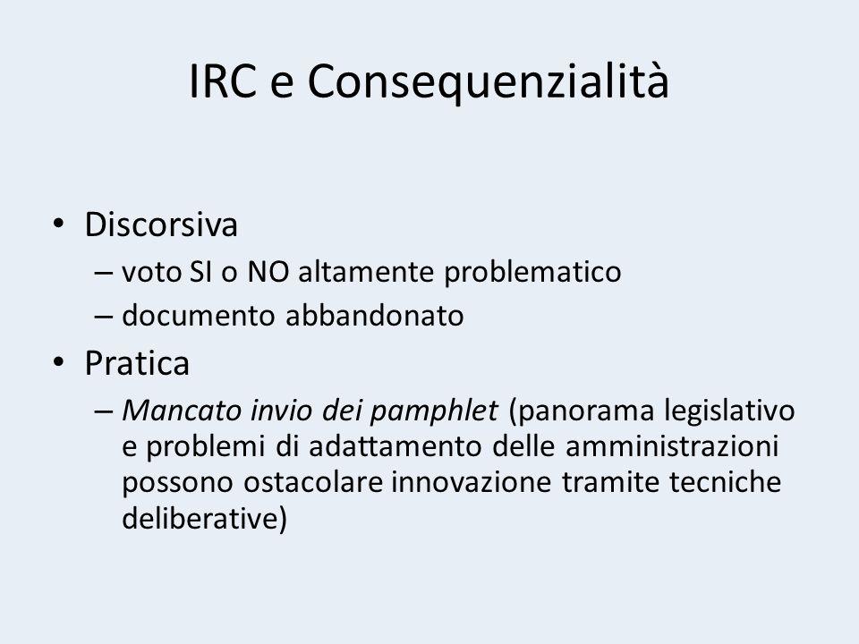 IRC e Consequenzialità Discorsiva – voto SI o NO altamente problematico – documento abbandonato Pratica – Mancato invio dei pamphlet (panorama legislativo e problemi di adattamento delle amministrazioni possono ostacolare innovazione tramite tecniche deliberative)