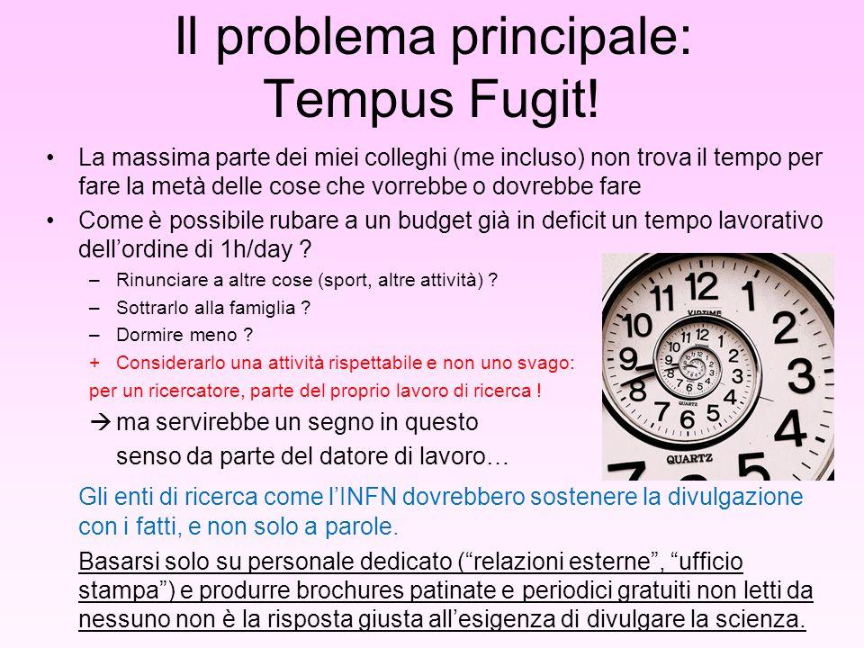 Il problema principale: Tempus Fugit.