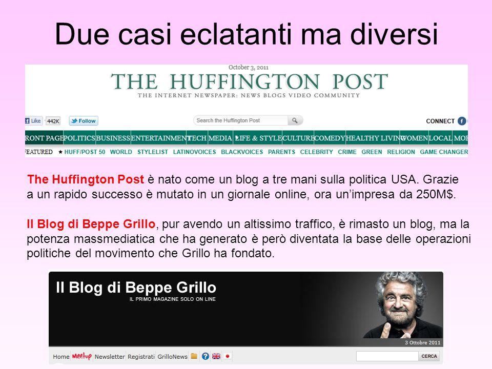 Due casi eclatanti ma diversi The Huffington Post è nato come un blog a tre mani sulla politica USA.