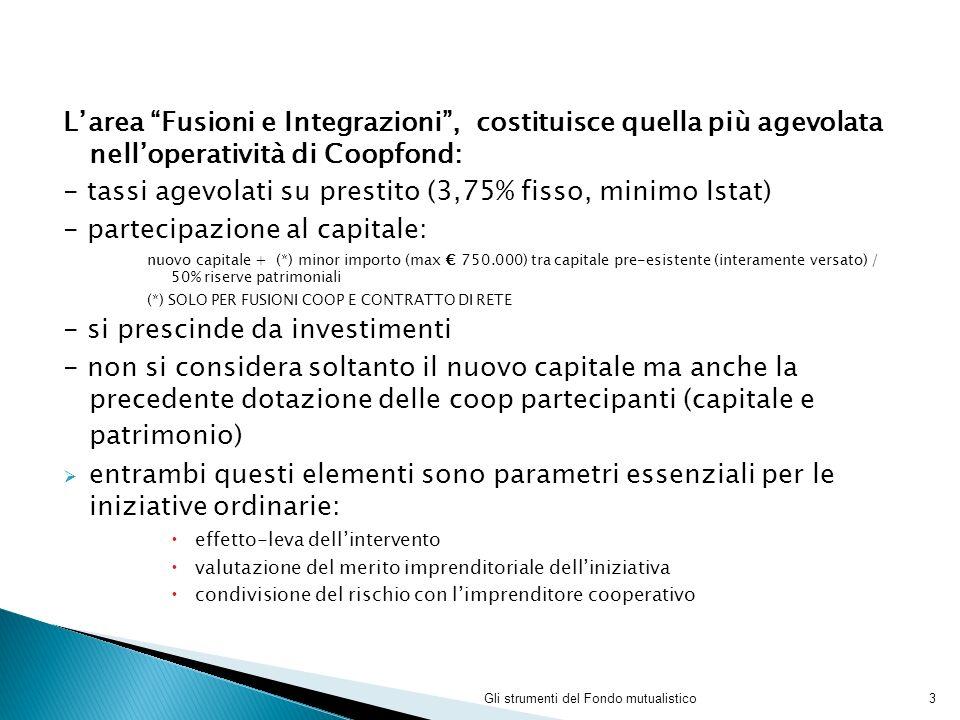 Larea Fusioni e Integrazioni, costituisce quella più agevolata nelloperatività di Coopfond: - tassi agevolati su prestito (3,75% fisso, minimo Istat)