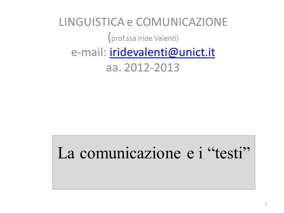 La comunicazione e i testi LINGUISTICA e COMUNICAZIONE ( prof.ssa Iride Valenti) e-mail: iridevalenti@unict.it aa. 2012-2013iridevalenti@unict.it 1