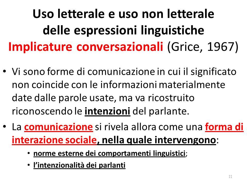Uso letterale e uso non letterale delle espressioni linguistiche Implicature conversazionali (Grice, 1967) Vi sono forme di comunicazione in cui il si