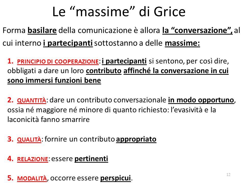 Le massime di Grice Forma basilare della comunicazione è allora la conversazione, al cui interno i partecipanti sottostanno a delle massime: 1. PRINCI