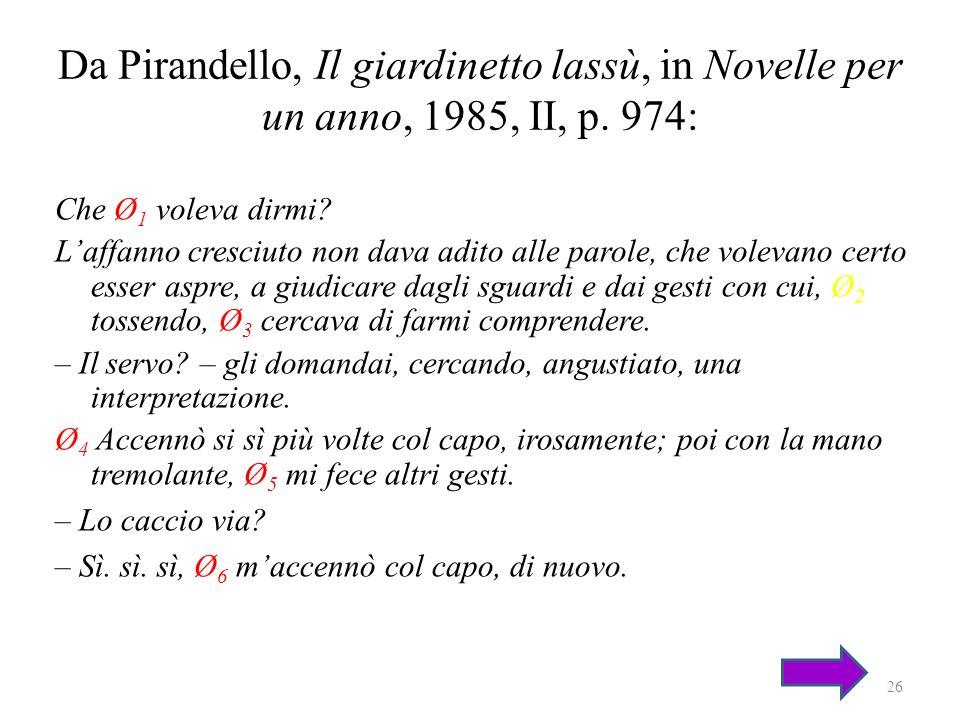 Da Pirandello, Il giardinetto lassù, in Novelle per un anno, 1985, II, p. 974: Che Ø 1 voleva dirmi? Laffanno cresciuto non dava adito alle parole, ch