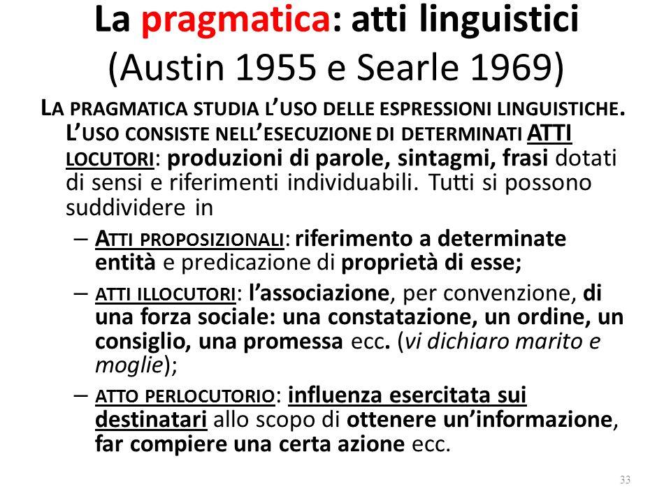 La pragmatica: atti linguistici (Austin 1955 e Searle 1969) L A PRAGMATICA STUDIA L USO DELLE ESPRESSIONI LINGUISTICHE. L USO CONSISTE NELL ESECUZIONE