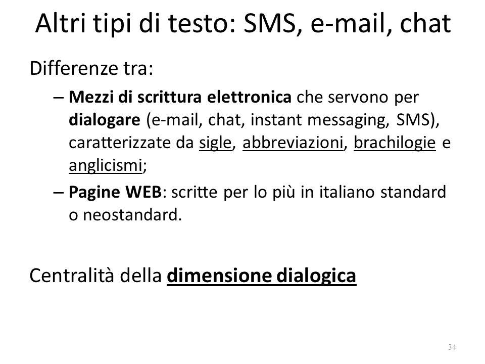 Altri tipi di testo: SMS, e-mail, chat Differenze tra: – Mezzi di scrittura elettronica che servono per dialogare (e-mail, chat, instant messaging, SM