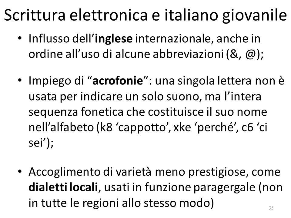 Scrittura elettronica e italiano giovanile Influsso dellinglese internazionale, anche in ordine alluso di alcune abbreviazioni (&, @); Impiego di acro