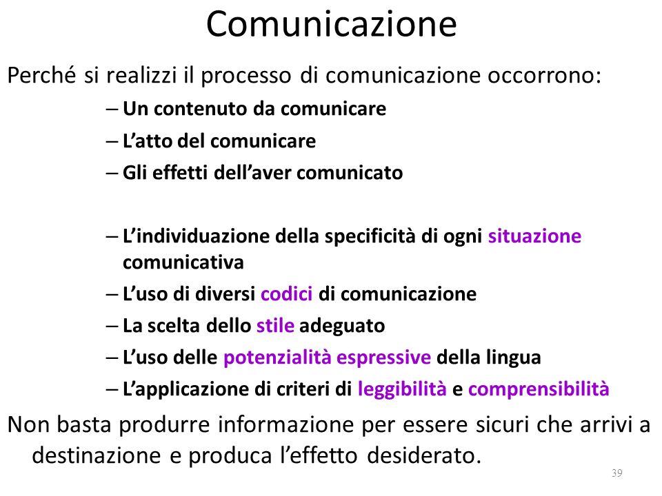 Comunicazione Perché si realizzi il processo di comunicazione occorrono: – Un contenuto da comunicare – Latto del comunicare – Gli effetti dellaver co