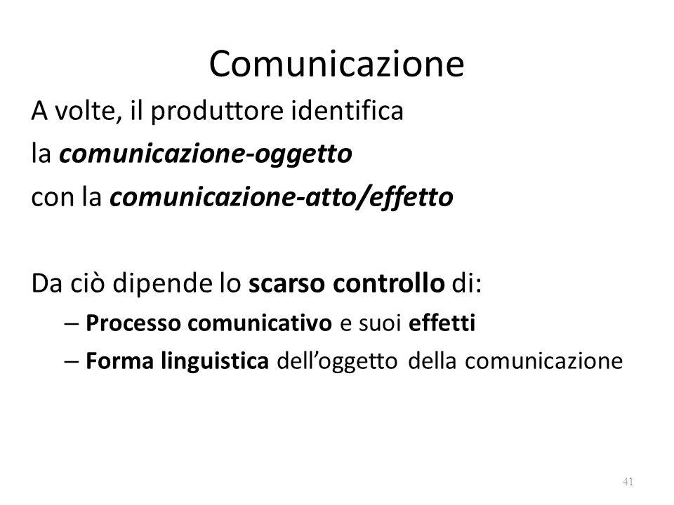 Comunicazione A volte, il produttore identifica la comunicazione-oggetto con la comunicazione-atto/effetto Da ciò dipende lo scarso controllo di: – Pr