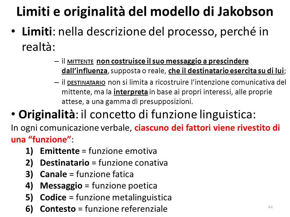 Limiti e originalità del modello di Jakobson Limiti: nella descrizione del processo, perché in realtà: – il MITTENTE non costruisce il suo messaggio a