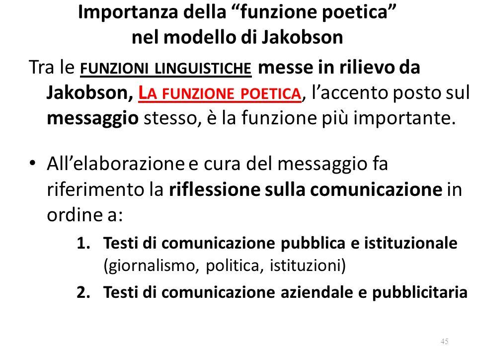 Importanza della funzione poetica nel modello di Jakobson Tra le FUNZIONI LINGUISTICHE messe in rilievo da Jakobson, L A FUNZIONE POETICA, laccento po