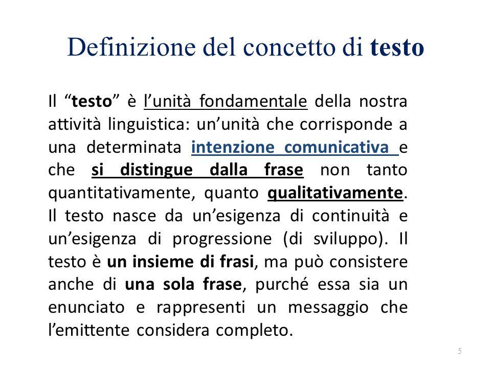 Definizione del concetto di testo Il testo è lunità fondamentale della nostra attività linguistica: ununità che corrisponde a una determinata intenzio
