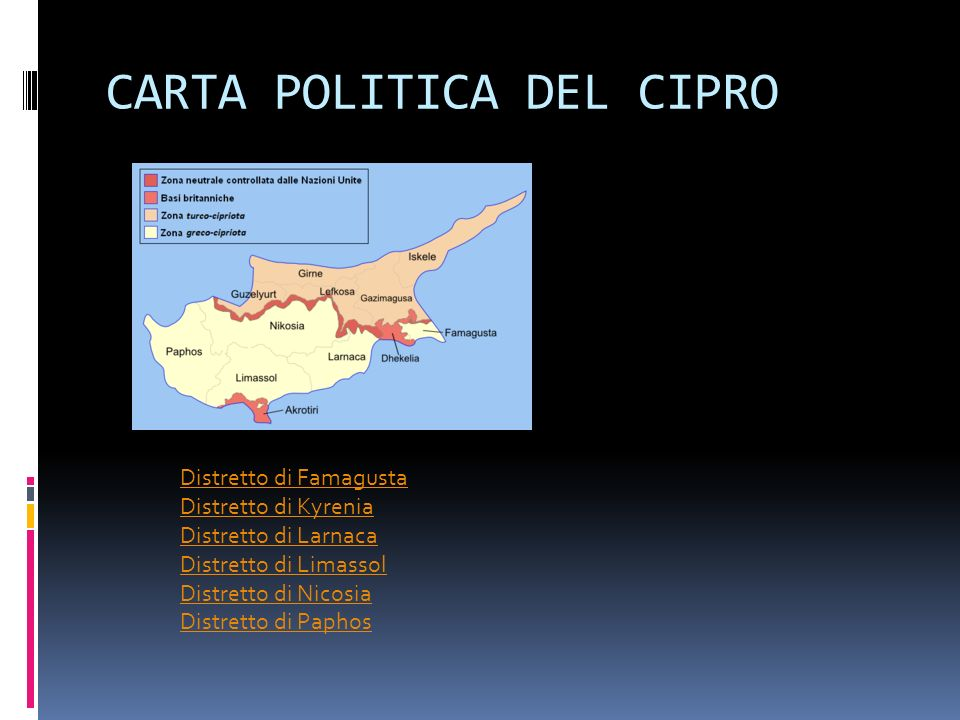 CARTA POLITICA DEL CIPRO Distretto di Famagusta Distretto di Kyrenia Distretto di Larnaca Distretto di Limassol Distretto di Nicosia Distretto di Paphos