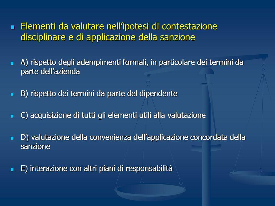 Elementi da valutare nellipotesi di contestazione disciplinare e di applicazione della sanzione Elementi da valutare nellipotesi di contestazione disc