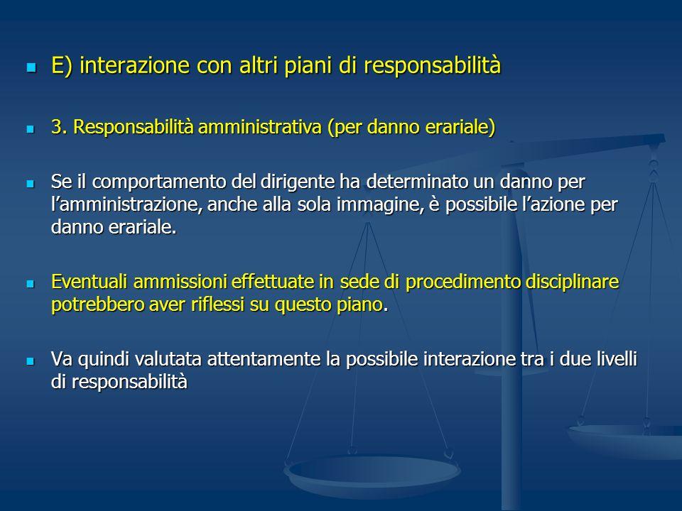 E) interazione con altri piani di responsabilità E) interazione con altri piani di responsabilità 3. Responsabilità amministrativa (per danno erariale
