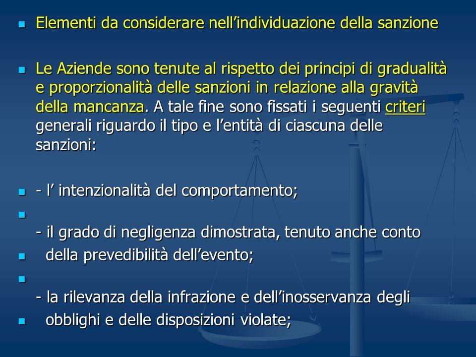 Elementi da considerare nellindividuazione della sanzione Elementi da considerare nellindividuazione della sanzione Le Aziende sono tenute al rispetto