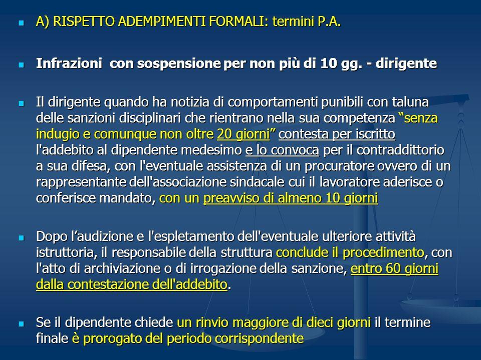 A) RISPETTO ADEMPIMENTI FORMALI: termini P.A. A) RISPETTO ADEMPIMENTI FORMALI: termini P.A. Infrazioni con sospensione per non più di 10 gg. - dirigen
