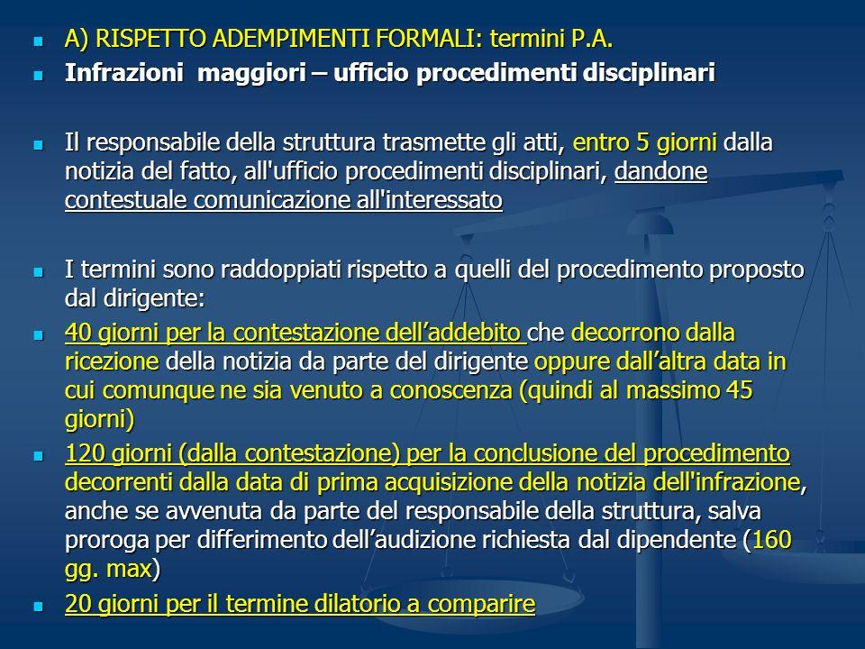 A) RISPETTO ADEMPIMENTI FORMALI: termini P.A. A) RISPETTO ADEMPIMENTI FORMALI: termini P.A. Infrazioni maggiori – ufficio procedimenti disciplinari In