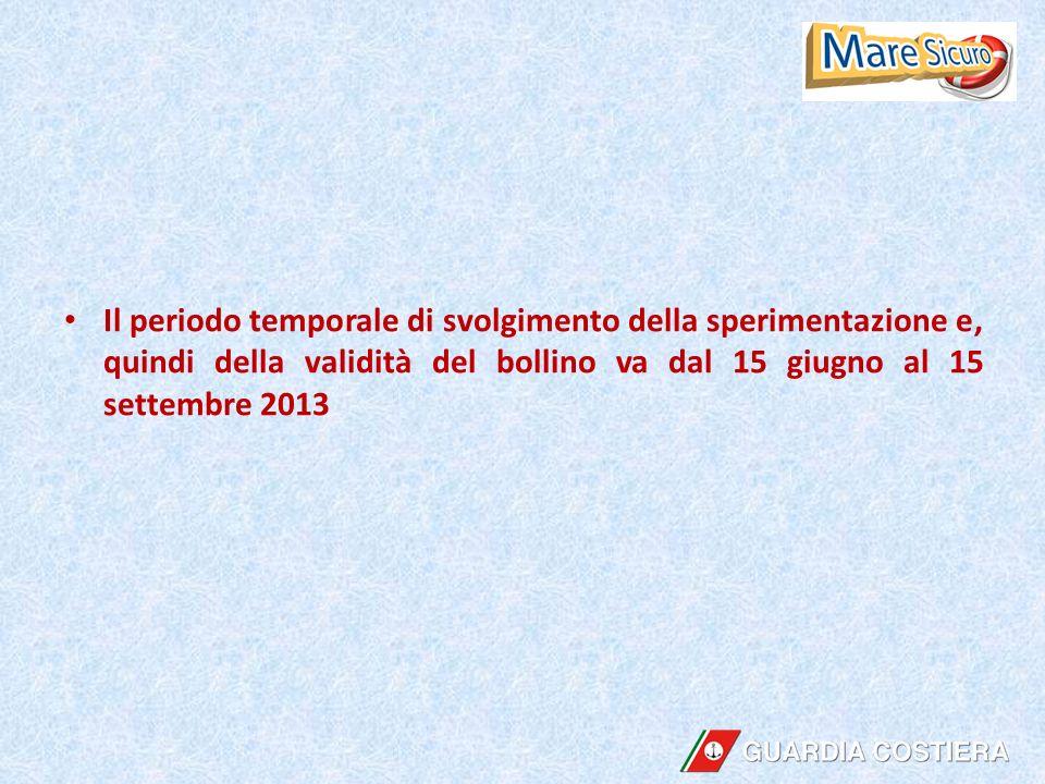Il periodo temporale di svolgimento della sperimentazione e, quindi della validità del bollino va dal 15 giugno al 15 settembre 2013