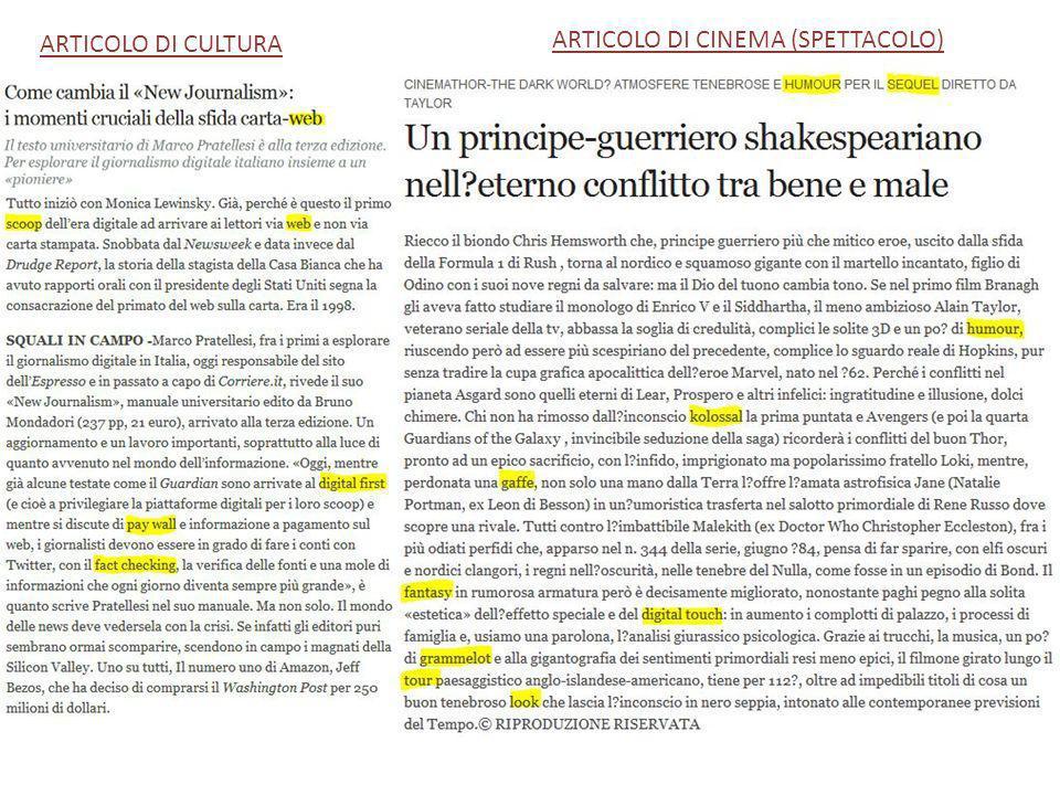 ARTICOLO DI CULTURA ARTICOLO DI CINEMA (SPETTACOLO)