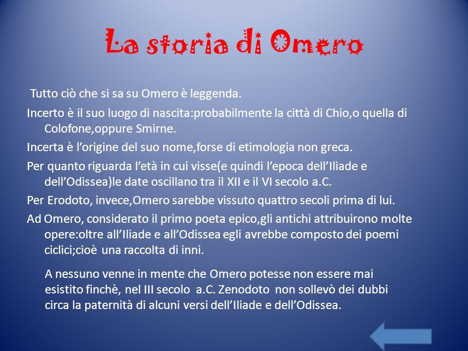 La storia di Omero Tutto ciò che si sa su Omero è leggenda. Incerto è il suo luogo di nascita:probabilmente la città di Chio,o quella di Colofone,oppu