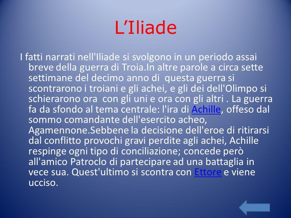 LIliade I fatti narrati nell'Iliade si svolgono in un periodo assai breve della guerra di Troia.In altre parole a circa sette settimane del decimo ann