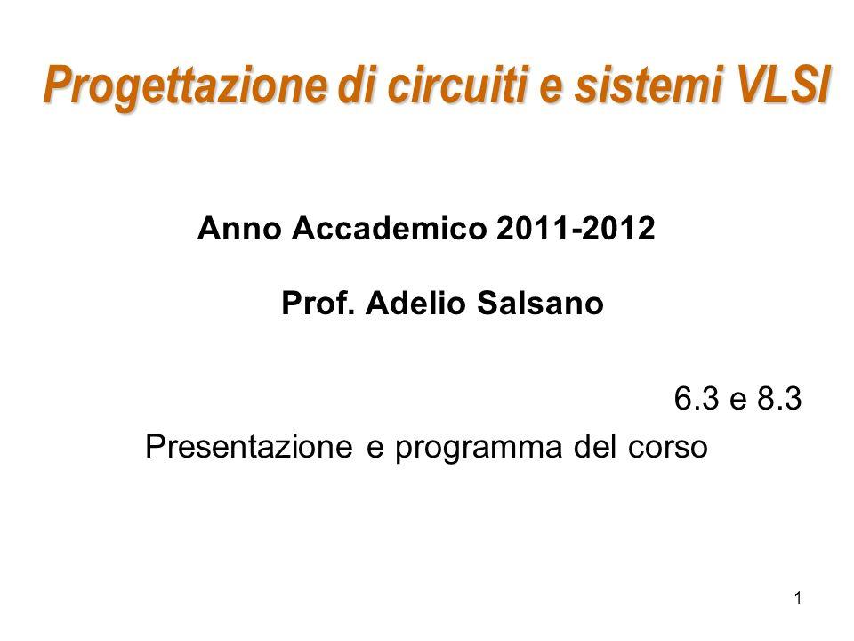 1 Progettazione di circuiti e sistemi VLSI Anno Accademico 2011-2012 Prof. Adelio Salsano 6.3 e 8.3 Presentazione e programma del corso