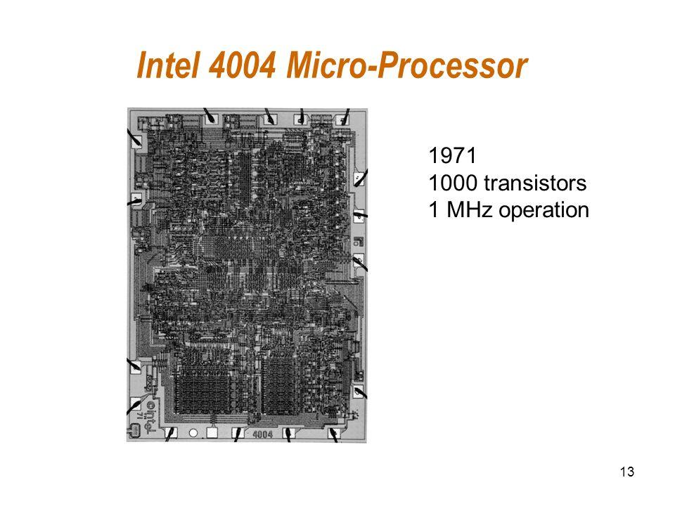 13 Intel 4004 Micro-Processor 1971 1000 transistors 1 MHz operation