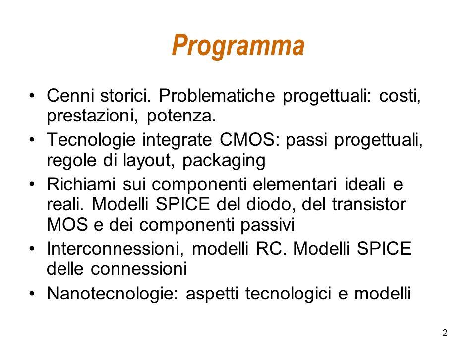 2 Programma Cenni storici. Problematiche progettuali: costi, prestazioni, potenza. Tecnologie integrate CMOS: passi progettuali, regole di layout, pac