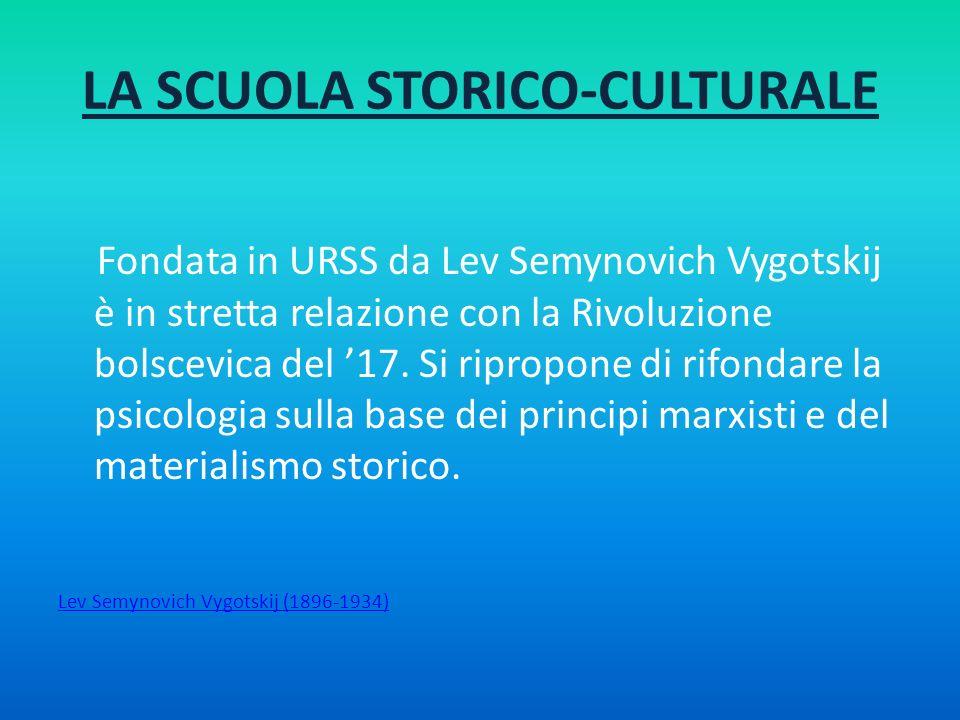 LA SCUOLA STORICO-CULTURALE Fondata in URSS da Lev Semynovich Vygotskij è in stretta relazione con la Rivoluzione bolscevica del 17. Si ripropone di r