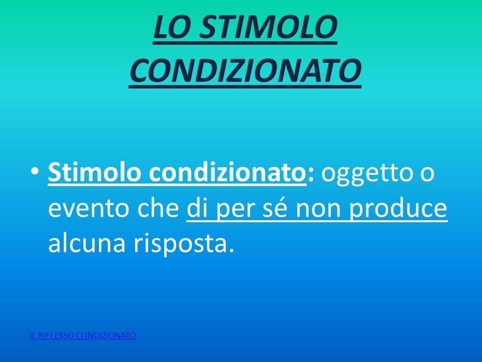 LO STIMOLO INCONDIZIONATO Stimolo incondizionato: oggetto o evento che originariamente produce la risposta incondizionata, in quanto basata su processi fisiologici dellorganismo.