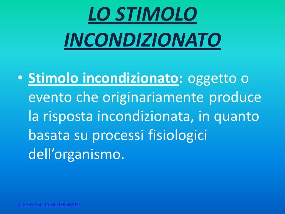 LO STIMOLO INCONDIZIONATO Stimolo incondizionato: oggetto o evento che originariamente produce la risposta incondizionata, in quanto basata su process