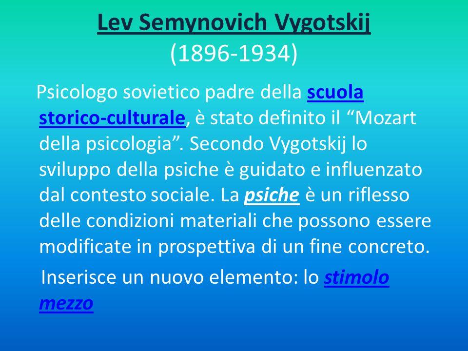 Lev Semynovich Vygotskij (1896-1934) Psicologo sovietico padre della scuola storico-culturale, è stato definito il Mozart della psicologia. Secondo Vy