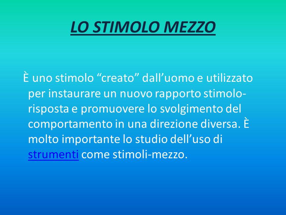 LO STIMOLO MEZZO È uno stimolo creato dalluomo e utilizzato per instaurare un nuovo rapporto stimolo- risposta e promuovere lo svolgimento del comport