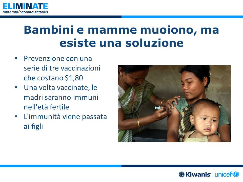 Bambini e mamme muoiono, ma esiste una soluzione Prevenzione con una serie di tre vaccinazioni che costano $1,80 Una volta vaccinate, le madri saranno immuni nell età fertile L immunità viene passata ai figli