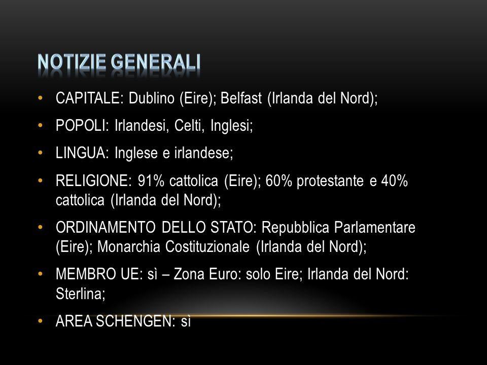 CAPITALE: Dublino (Eire); Belfast (Irlanda del Nord); POPOLI: Irlandesi, Celti, Inglesi; LINGUA: Inglese e irlandese; RELIGIONE: 91% cattolica (Eire);