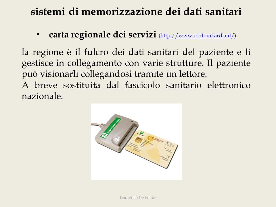 sistemi di memorizzazione dei dati sanitari carta regionale dei servizi (http://www.crs.lombardia.it/)http://www.crs.lombardia.it/ la regione è il ful