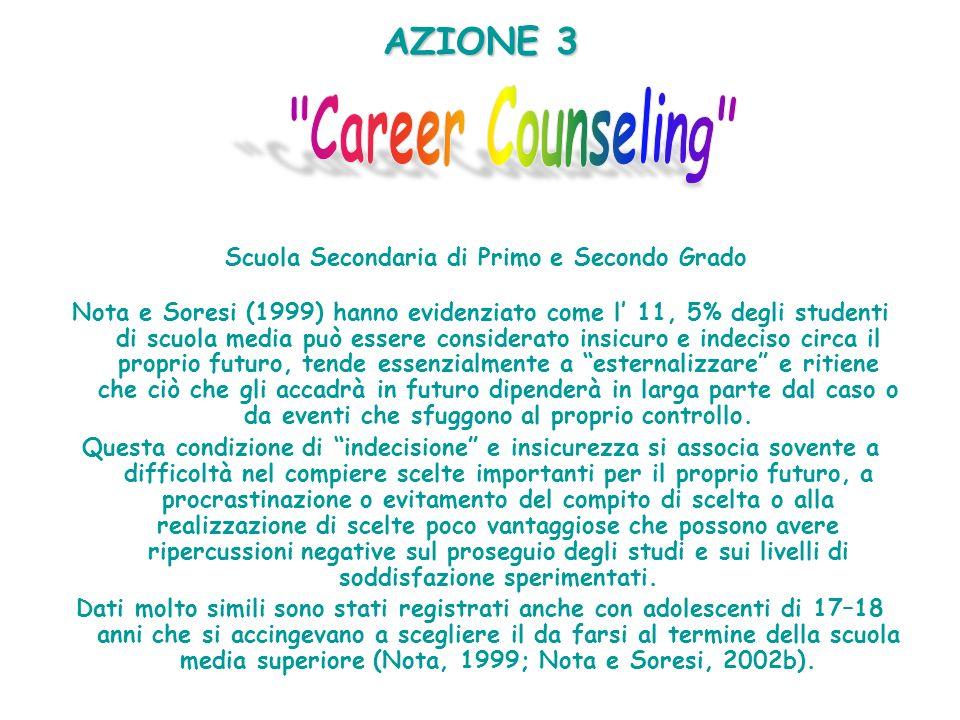 AZIONE 3 AZIONE 3 Scuola Secondaria di Primo e Secondo Grado Nota e Soresi (1999) hanno evidenziato come l 11, 5% degli studenti di scuola media può e
