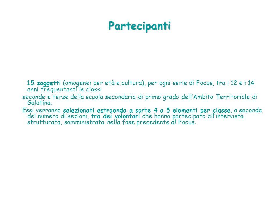 Partecipanti 15 soggetti (omogenei per età e cultura), per ogni serie di Focus, tra i 12 e i 14 anni frequentanti le classi seconde e terze della scuola secondaria di primo grado dellAmbito Territoriale di Galatina.