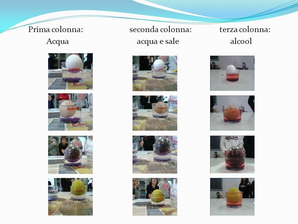 Prima colonna: seconda colonna: terza colonna: Acqua acqua e sale alcool