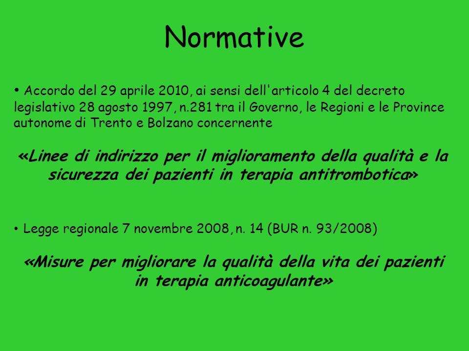Accordo del 29 aprile 2010, ai sensi dell articolo 4 del decreto legislativo 28 agosto 1997, n.281 tra il Governo, le Regioni e le Province autonome di Trento e Bolzano concernente «Linee di indirizzo per il miglioramento della qualità e la sicurezza dei pazienti in terapia antitrombotica» Legge regionale 7 novembre 2008, n.