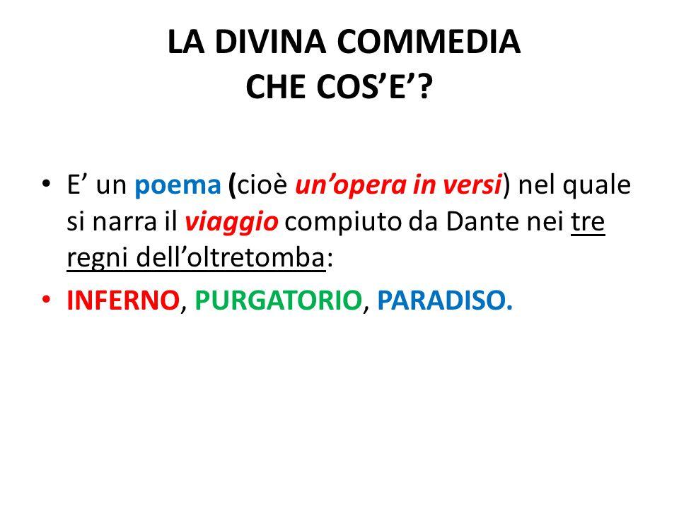 LA DIVINA COMMEDIA CHE COSE? E un poema (cioè unopera in versi) nel quale si narra il viaggio compiuto da Dante nei tre regni delloltretomba: INFERNO,
