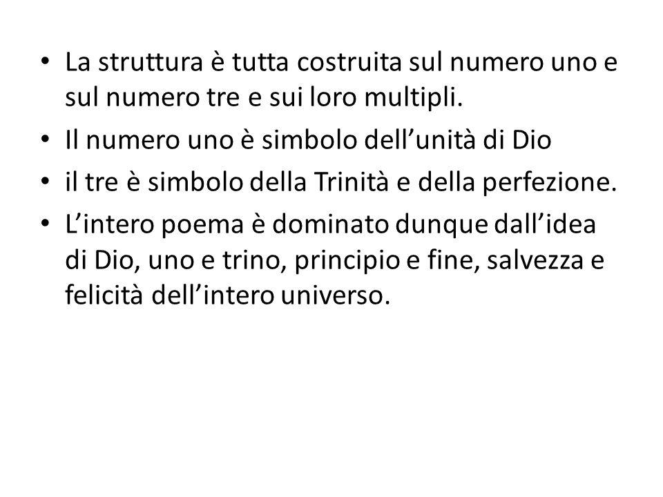 La struttura è tutta costruita sul numero uno e sul numero tre e sui loro multipli. Il numero uno è simbolo dellunità di Dio il tre è simbolo della Tr