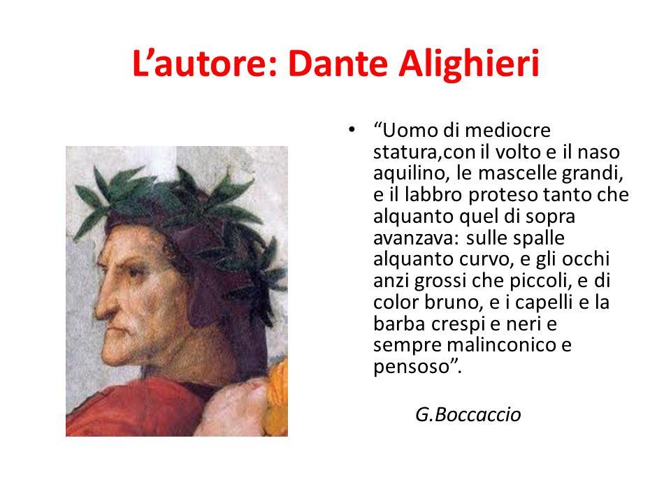 Lautore: Dante Alighieri Uomo di mediocre statura,con il volto e il naso aquilino, le mascelle grandi, e il labbro proteso tanto che alquanto quel di