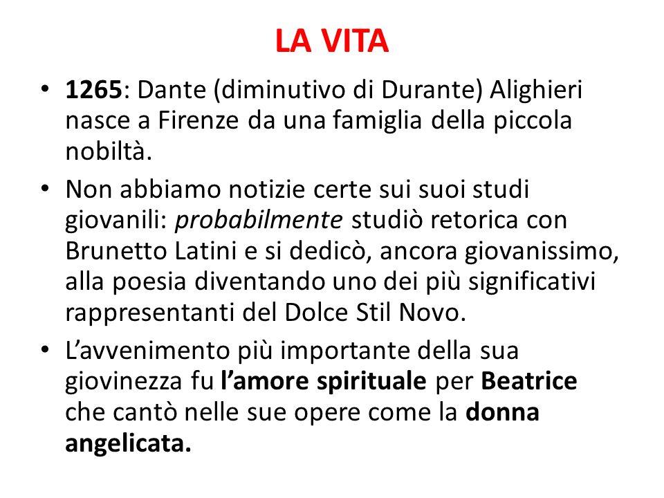 LA VITA 1265: Dante (diminutivo di Durante) Alighieri nasce a Firenze da una famiglia della piccola nobiltà. Non abbiamo notizie certe sui suoi studi