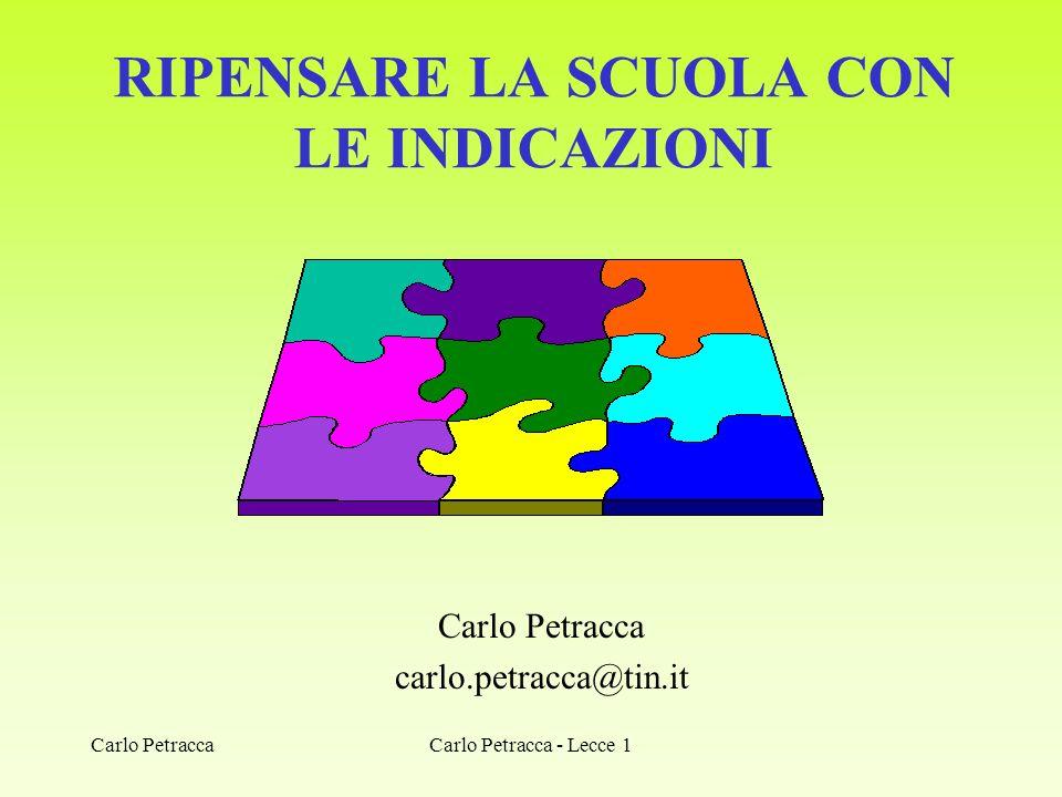 RIPENSARE LA SCUOLA CON LE INDICAZIONI Carlo Petracca carlo.petracca@tin.it Carlo Petracca - Lecce 1Carlo Petracca